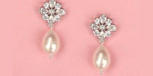 Pearl & Rhinestone Bridal Earrings
