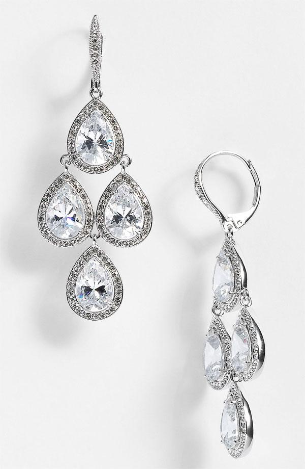 Diamond Chandelier Wedding Earrings
