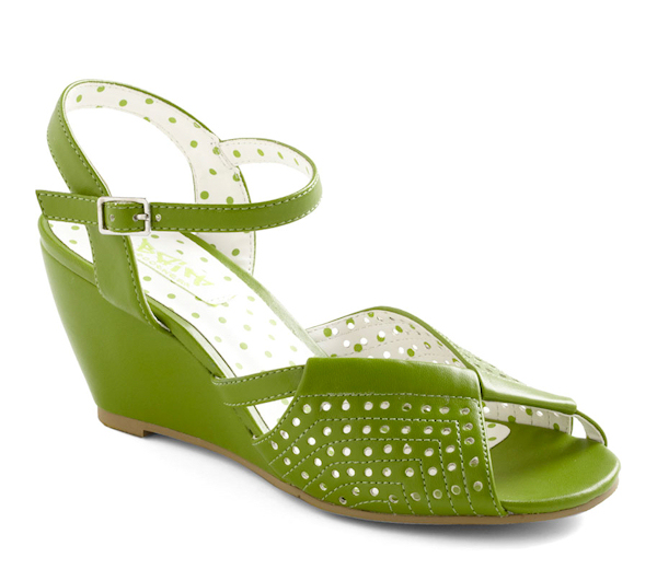 Green Wedge Wedding Shoes