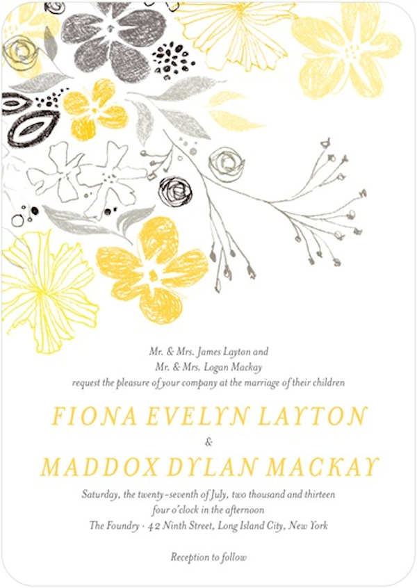 Yellow gray wedding invitation bitsy bride yellow gray wedding invitation stopboris Gallery