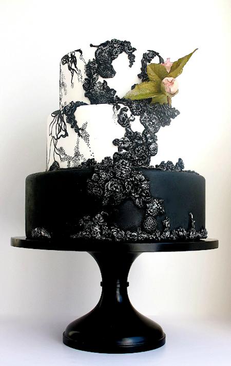 black white wedding cake - Bitsy Bride
