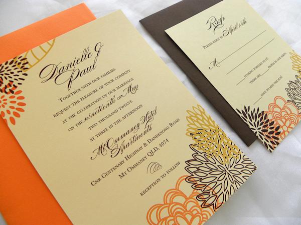 Orange Fall Wedding Invitations