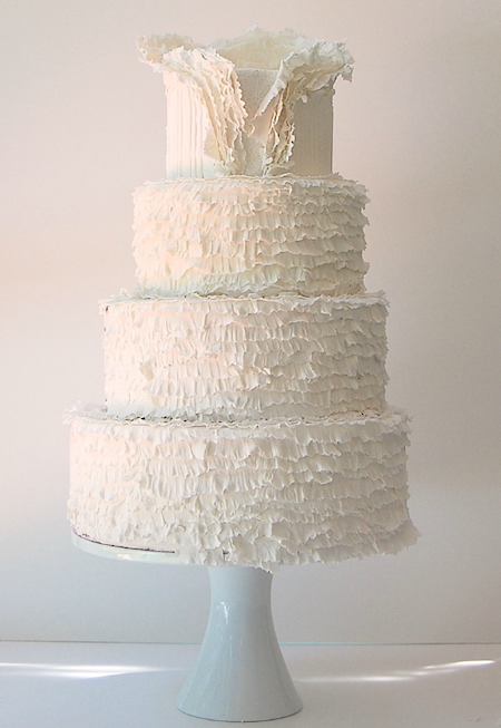 pink white wedding cake - Bitsy Bride