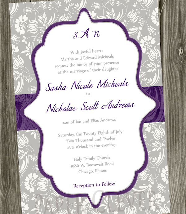 pretty purple wedding invitations - Purple Wedding Invitations