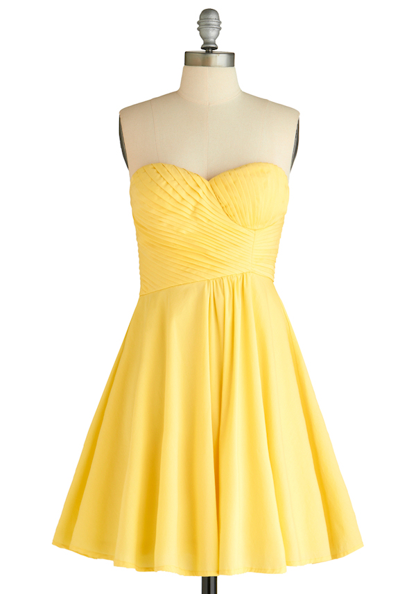 strapless yellow bridesmaid dress - Bitsy Bride