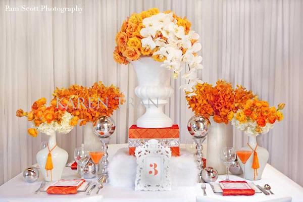Orange floral centerpieces bitsy bride for Deco de table orange