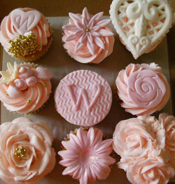 Pink White Wedding Cupcakes