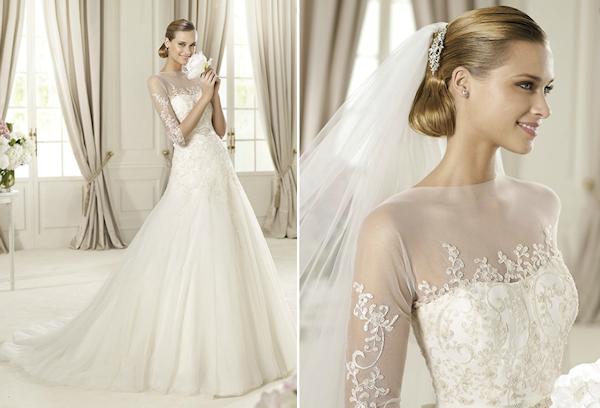 sheer top wedding dress - Bitsy Bride