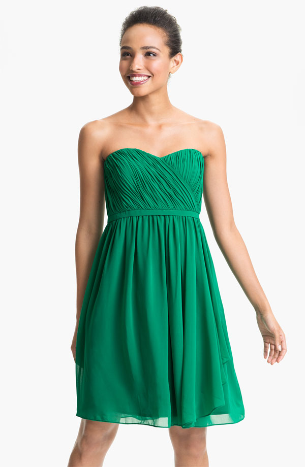 Strapless Green Bridesmaid Dress