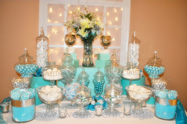 tiffany blue white wedding candy buffet - Bitsy Bride