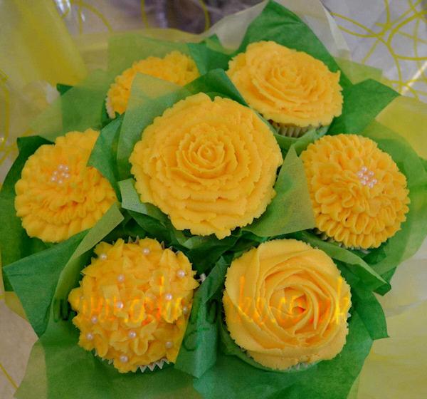 Yellow wedding cupcake flower bitsy bride yellow wedding cupcake flower mightylinksfo